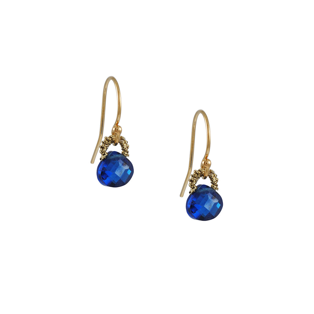 DANIELLE WELMOND - Little Woven Cage Drop Earrings with Midnight Blue CZs in Gold Fill