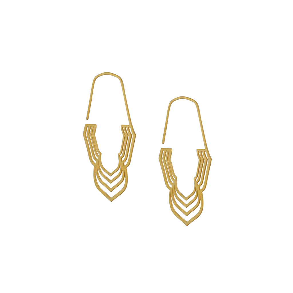 DAPHNE OLIVE - Small Concentric Petal Hoops Earrings, 18K Gold Plated Stainless Steel