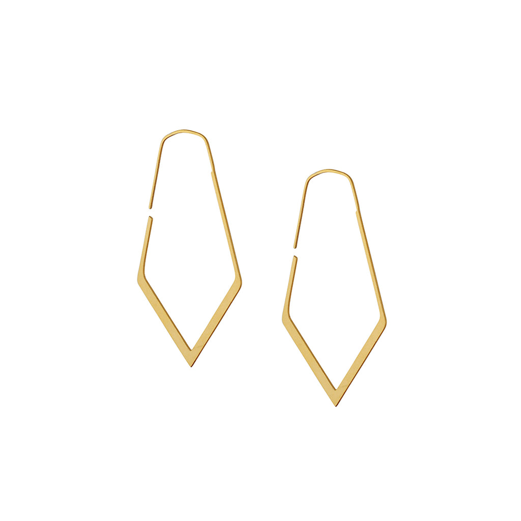 DAPHNE OLIVE - Tiny Faceted Hoop Earrings, 18K Gold Plated Stainless Steel