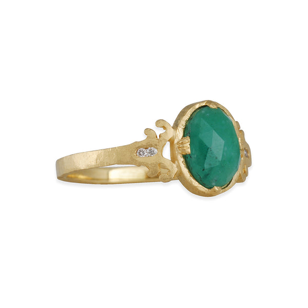 JENNIFER DAWES- Victorian Inspired Emerald Engagement Ring