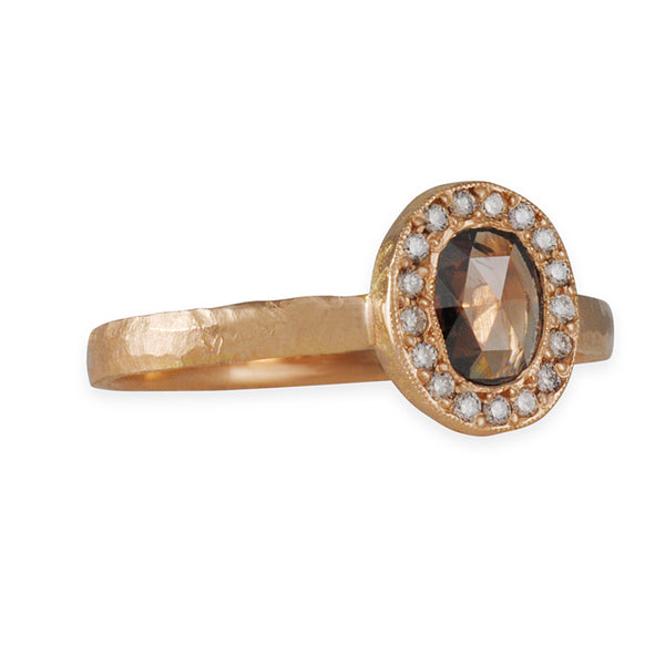 JENNIFER DAWES- Chocolate Diamond with Halo in Rose Gold