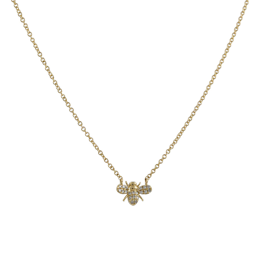 Liven - Petite Pave Bee Necklace in 14K Gold
