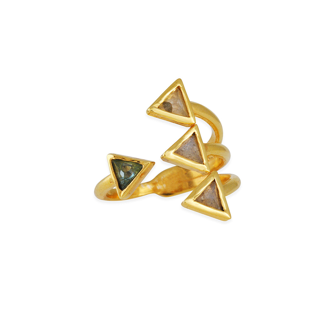 KATIE DIAMOND - Julian Triangle Quartet Ring with Apatite and Labradorite