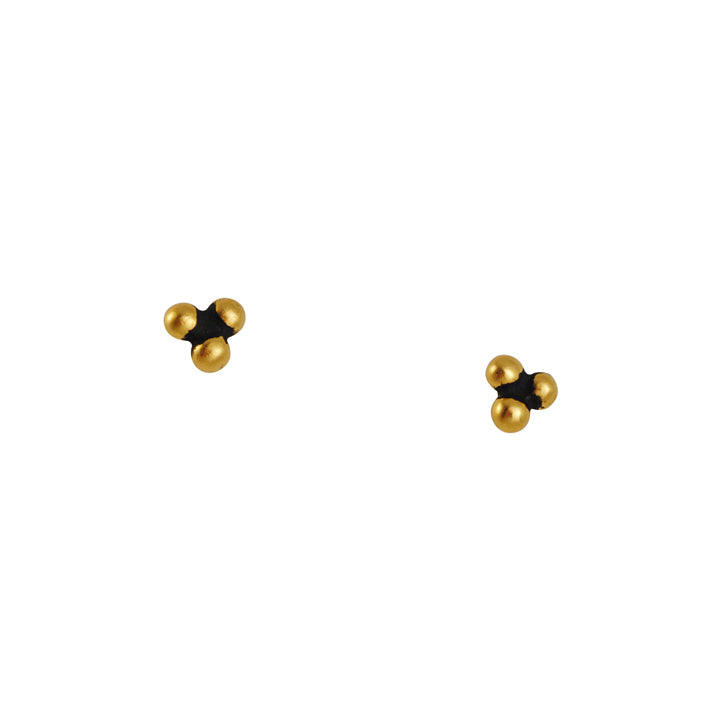 JANE DIAZ - Three Ball Vermeil Post Earrings