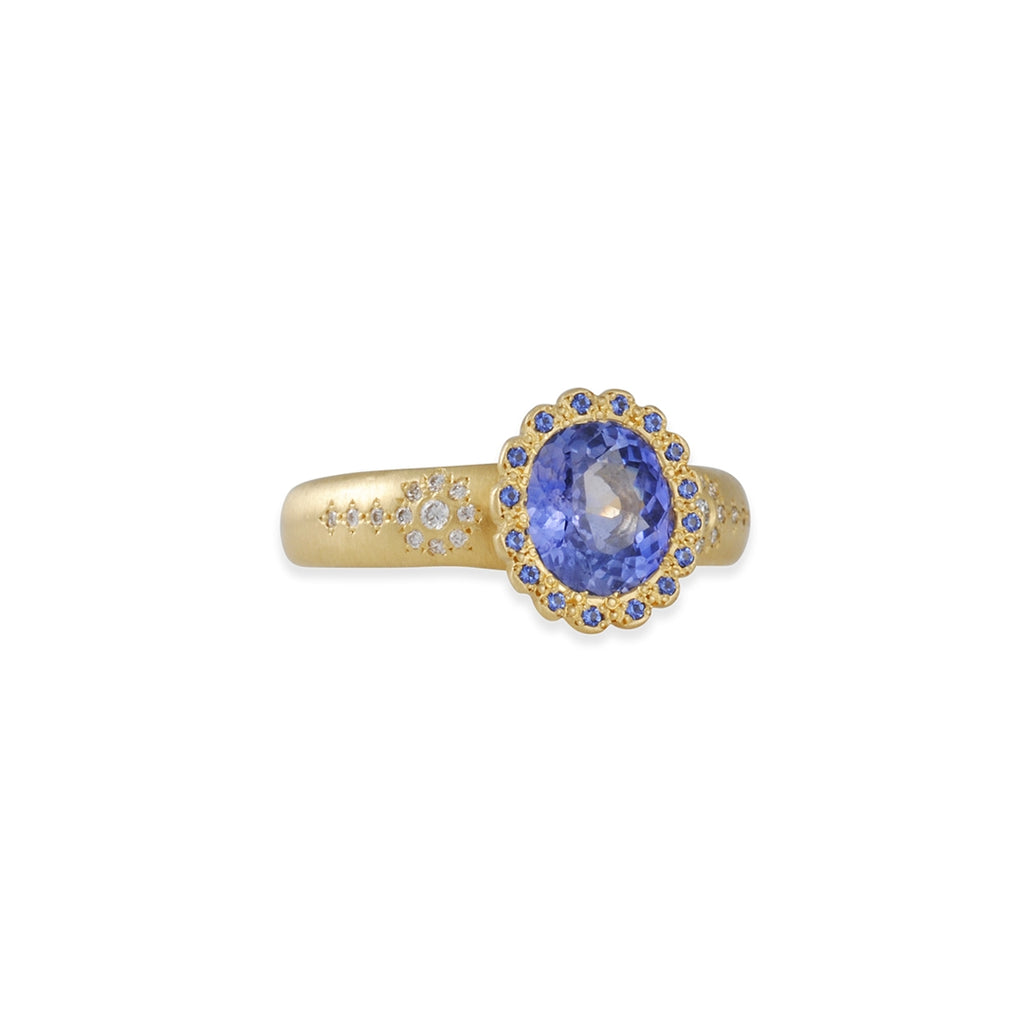 SALE - Scalloped Shimmer Ring with Oval Sapphire
