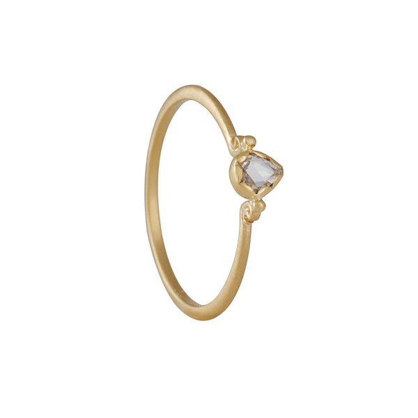 Megan Thorne - Lottie Ring With Pear Shaped Rose Cut Diamond