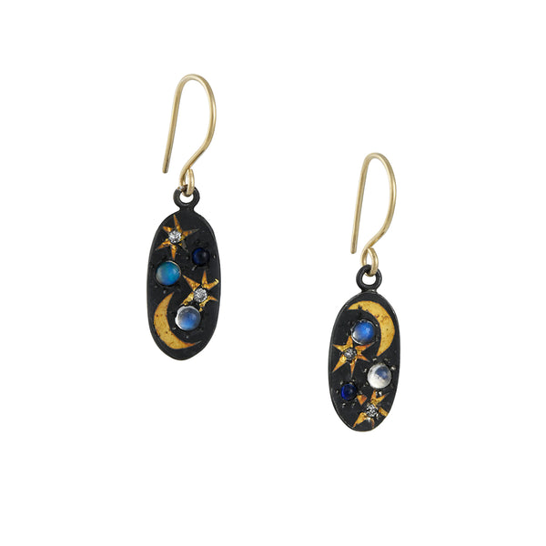 Acanthus - Oval Spacescape Earrings With Blue Moonstone and Diamonds