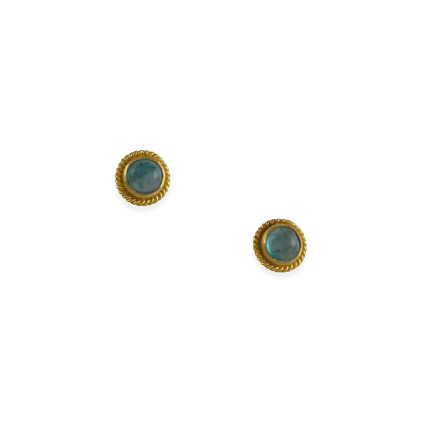 Steven Battelle - Emerald Cabochon Stud Earrings in 18K Gold