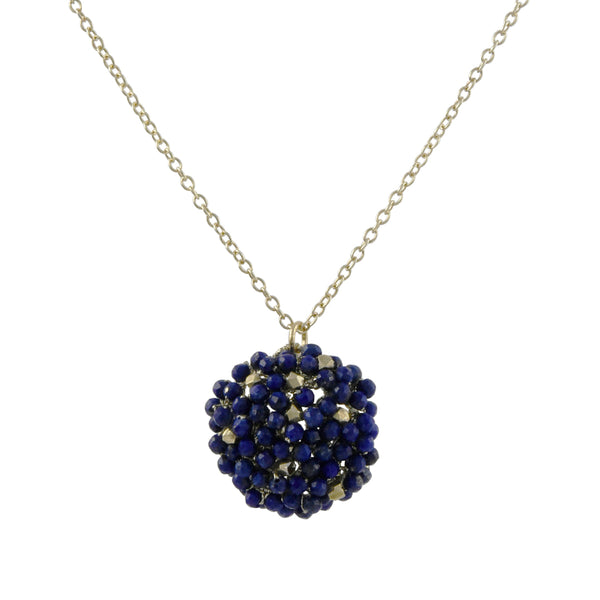 Danielle Welmond - Woven Pendant Necklace With Lapis and Gold Vermeil Beading