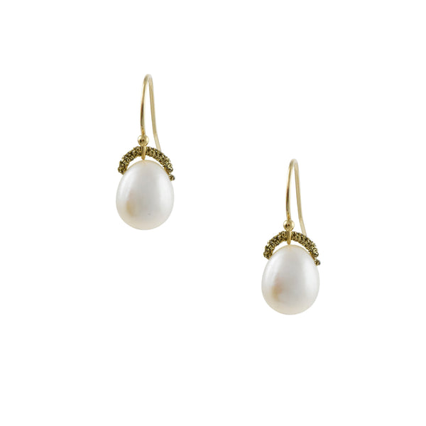 Danielle Welmond - Egg-Shaped Pearl Drop Earrings With Woven Bales
