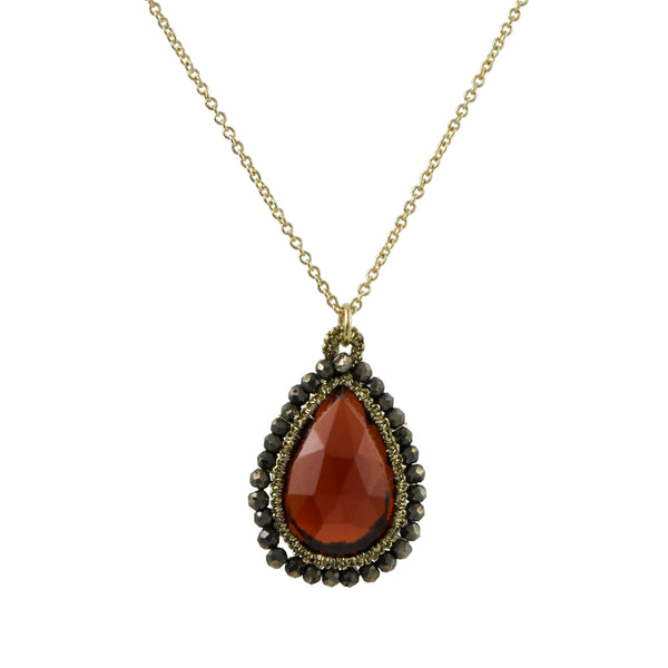 Danielle Welmond - Caged Teardrop Garnet Quartz Pendant Necklace