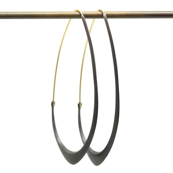Hannah Blount - Large Facet Hoops With 18K Gold and Oxidized Sterling Silver