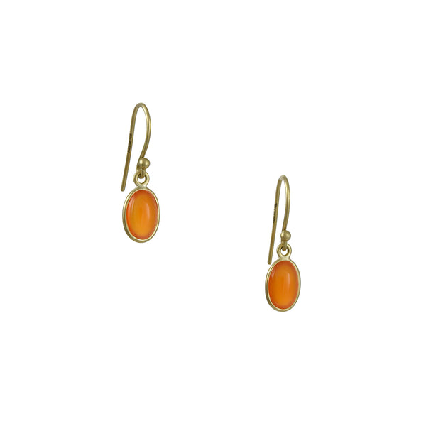 Kothari - Petite Carnelian Oval Drop Earrings