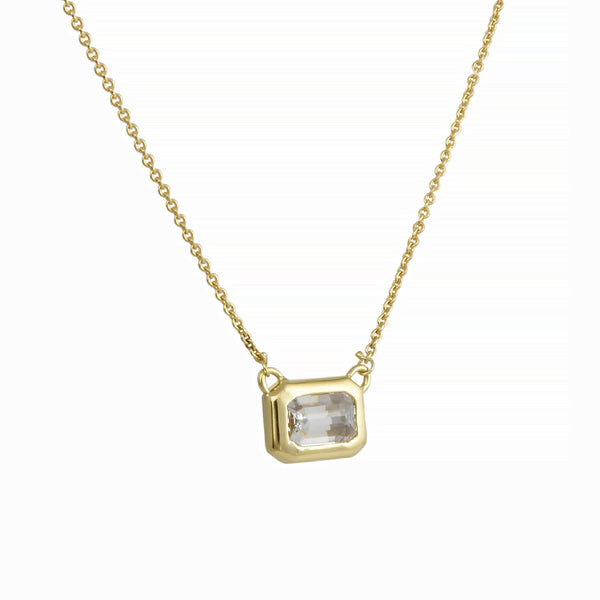 Diana Mitchell - Emerald-Cut Diamond Solitaire Necklace in 18K Gold