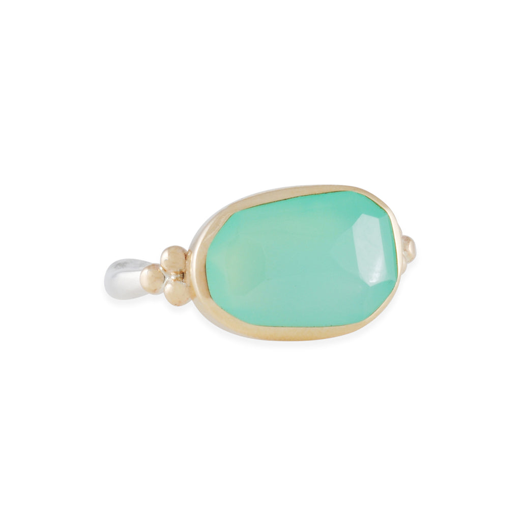 EMILY AMEY - Asymmetrical Chrysoprase Ring with Granulation, Size 7