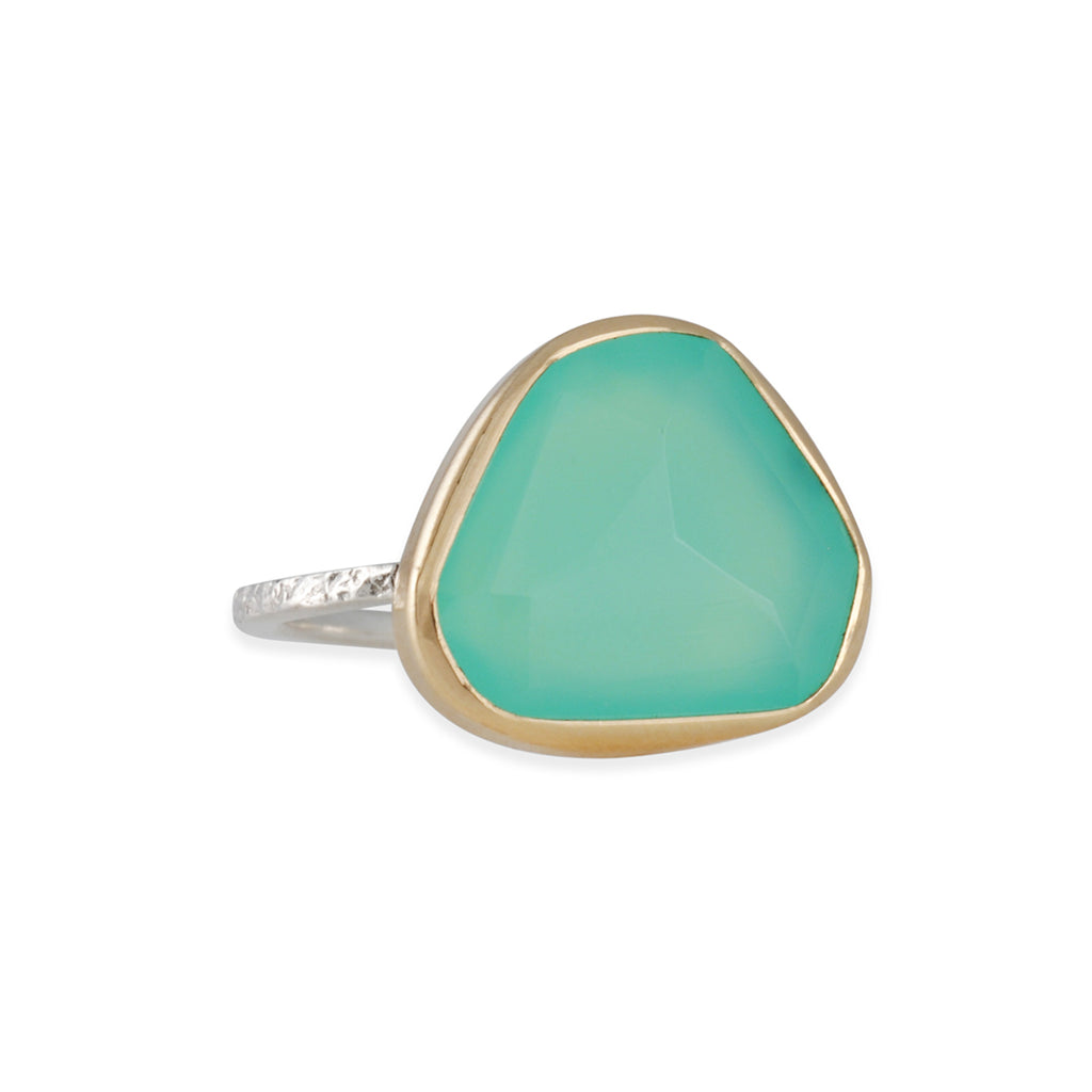 EMILY AMEY - Triangular Chrysoprase Ring, Size 7