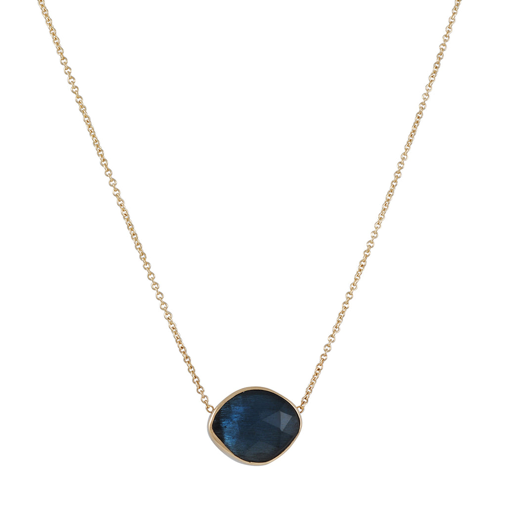 EMILY AMEY - Asymmetrical London Blue Topaz Pendant Necklace in 14K Gold