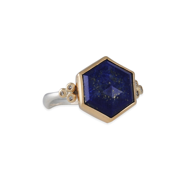Emily Amey - Hexagonal Lapis Lazuli Ring with Diamonds