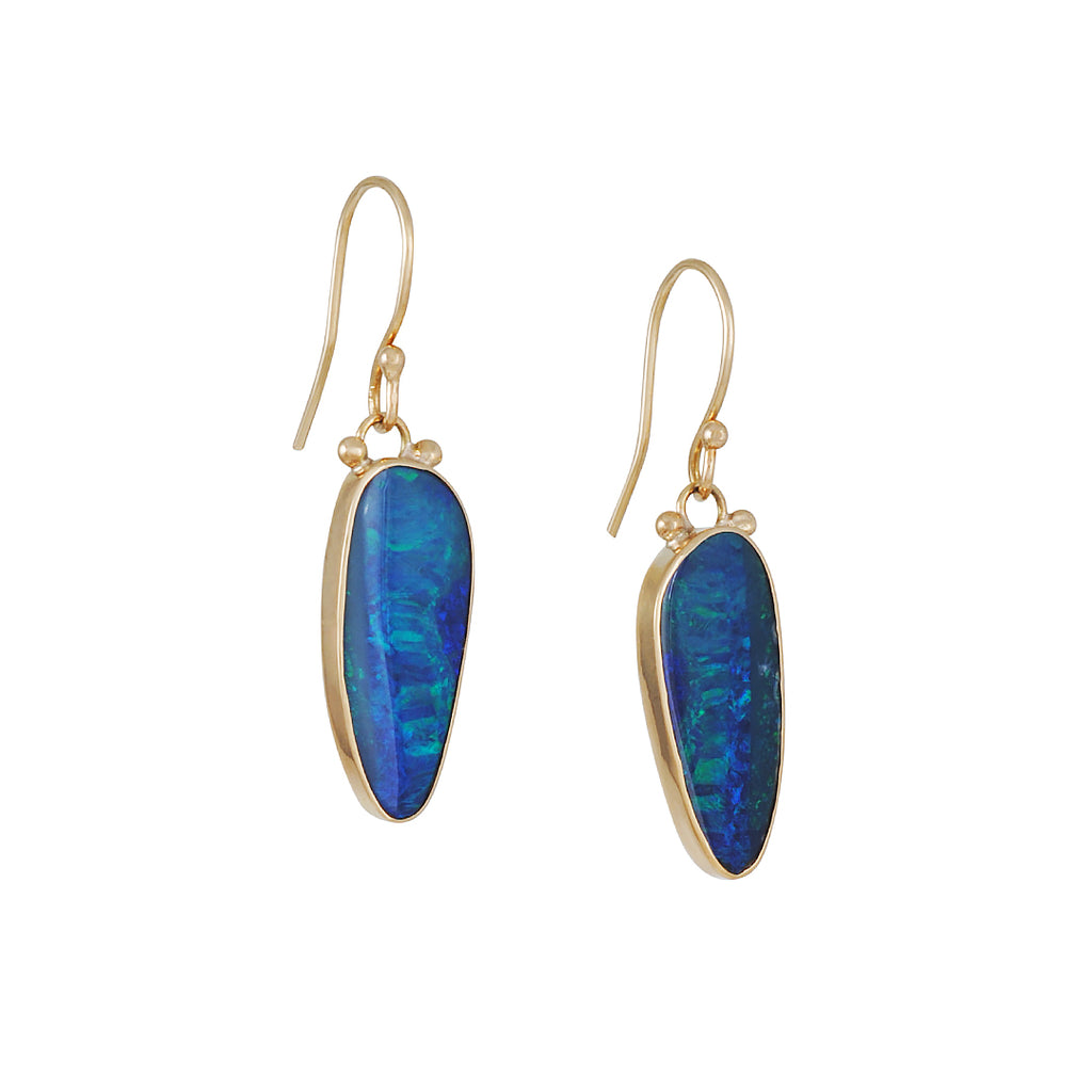 EMILY AMEY - Opal Daggar Drop Earrings in 14K gold