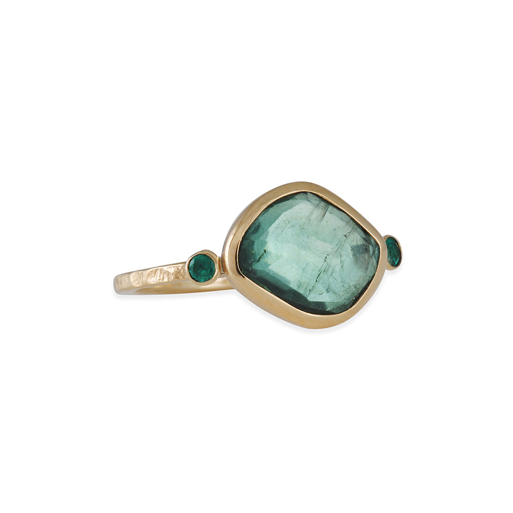 EMILY AMEY - Teal Tourmaline Ring with Emeralds in 14K Gold, Size 7