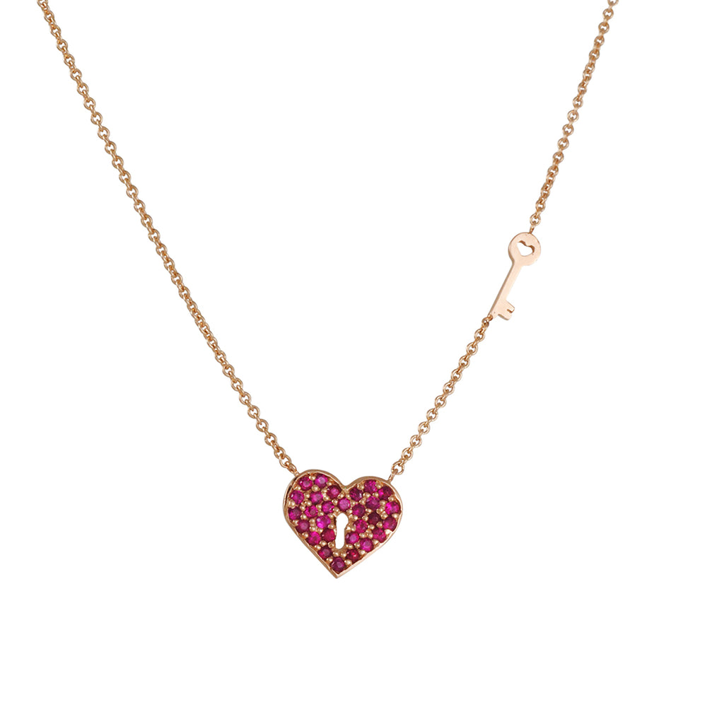 SYDNEY EVAN - Heart and Key Necklace in Rose Gold