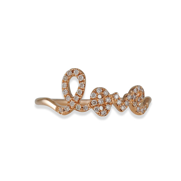 Sydney Evan - Love Script Ring in Rose Gold