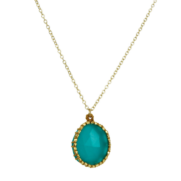 Danielle Welmond - Hand-crocheted Cage Pendant Necklace With Faceted Chrysoprase