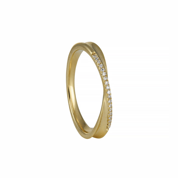 Liven - Pave Twist Crossover Band With White Diamonds in 14K Gold