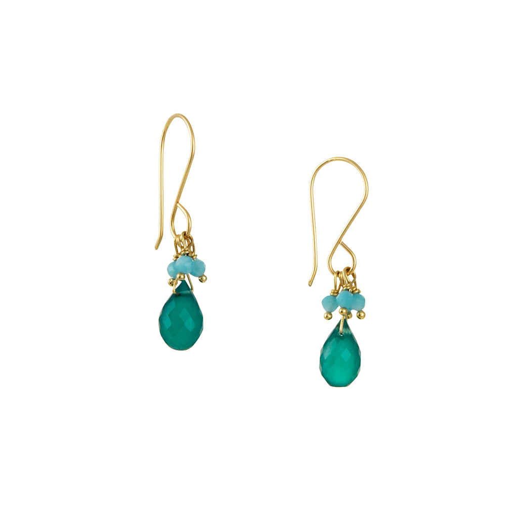 Debbie Fisher - Mini Green Onyx and Amazonite Fringe Drop Earrings
