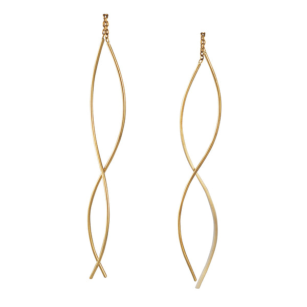 Shaesby - Long Curve Thread Thru Earrings