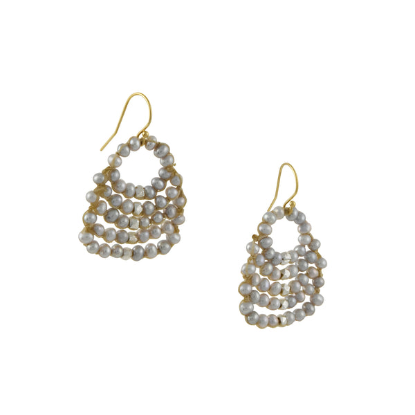Danielle Welmond - Hand-Crocheted Fan Earrings With Freshwater Pearls