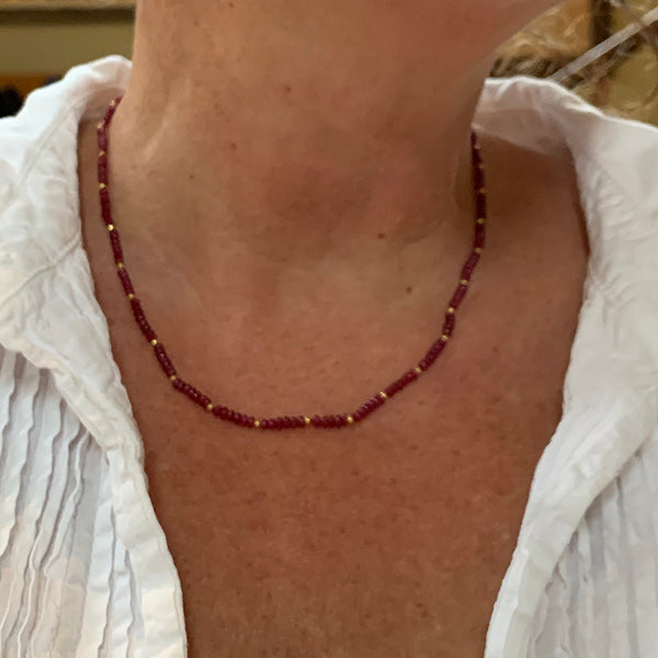 Hill House - Ruby Necklace with 22k Beads