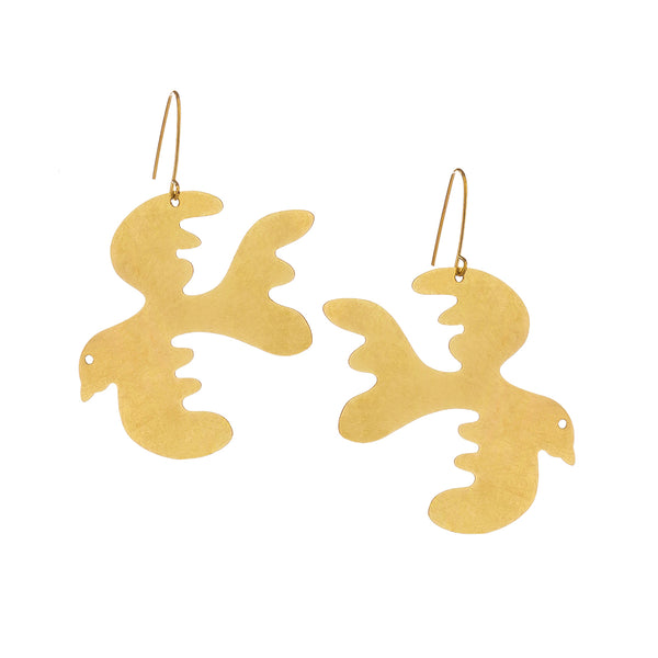 Sibilia - Free as a Bird Drop Earrings in Brushed Brass