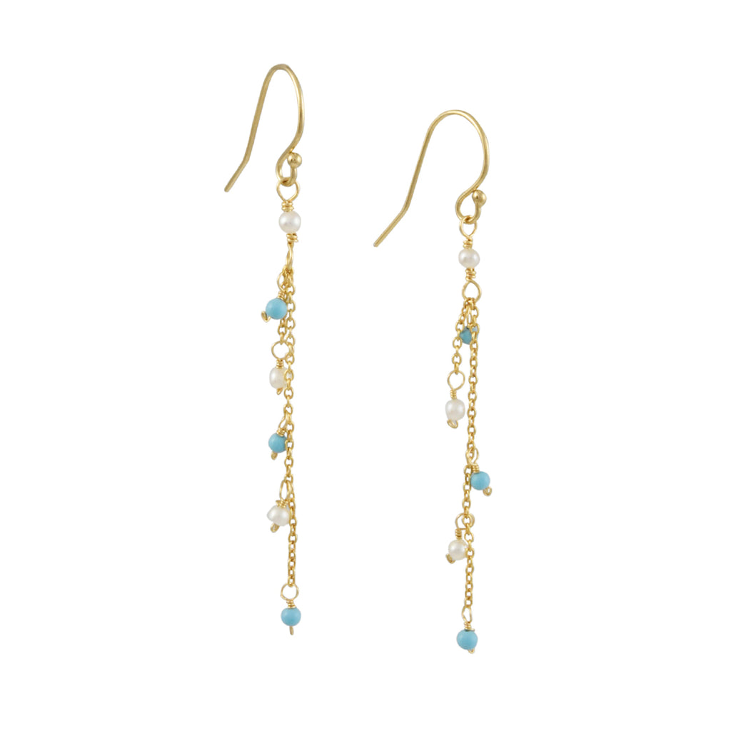 "Christina Stankard - Long ""Y"" Earrings With Freshwater Pearls & Turquoise"