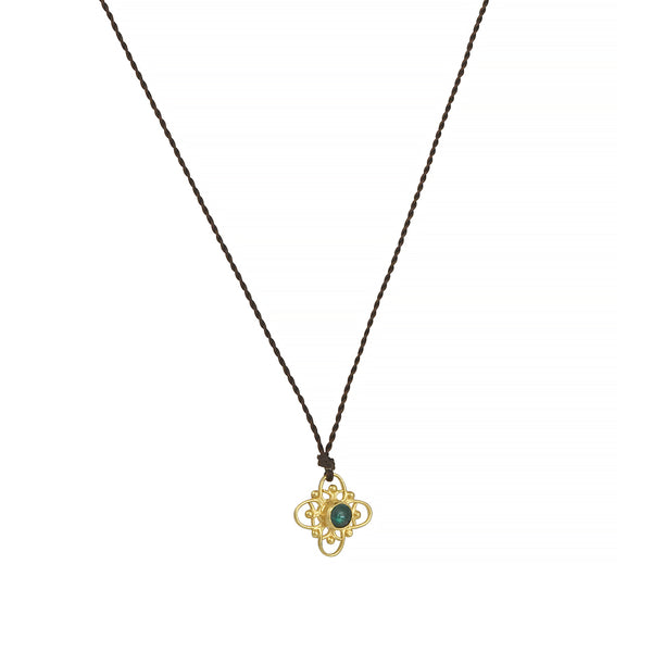 Margaret Solow- Emerald and Yellow Gold Floral Pendant Necklace