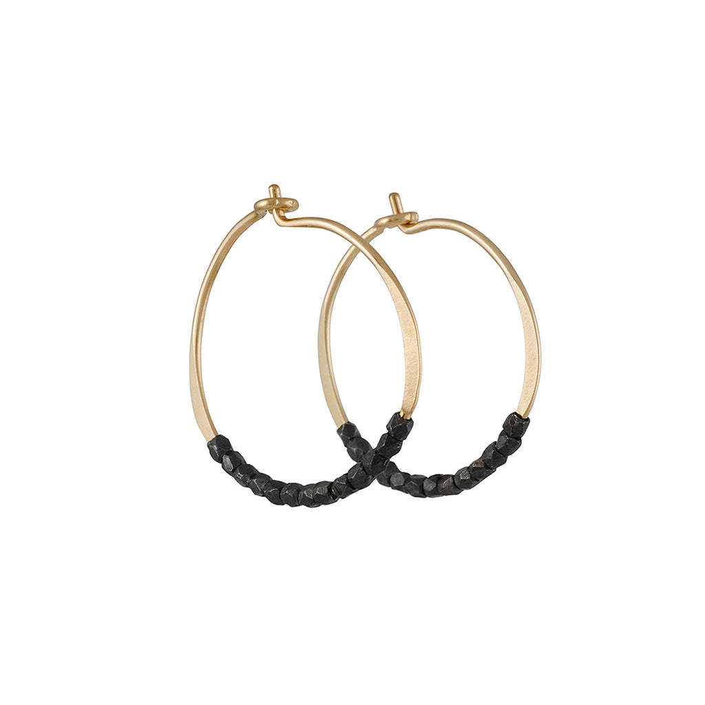CHRISTINE FAIL - Small Hoops with Faceted Beads in Oxidized Silver