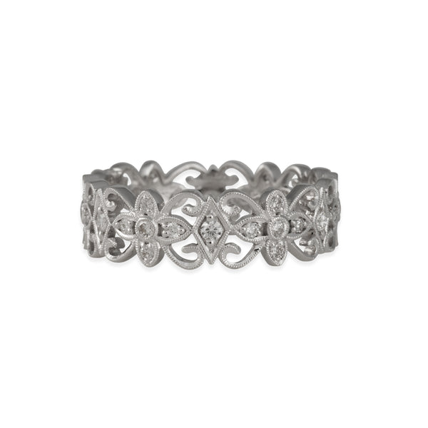 SALE - Curlicue Band With White Diamonds in 18K White Gold