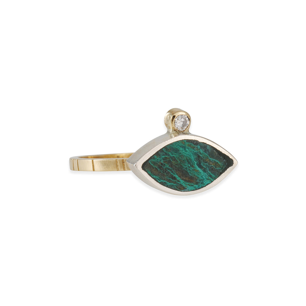 Young in the Mountains - Chrysocolla and Diamond Ring