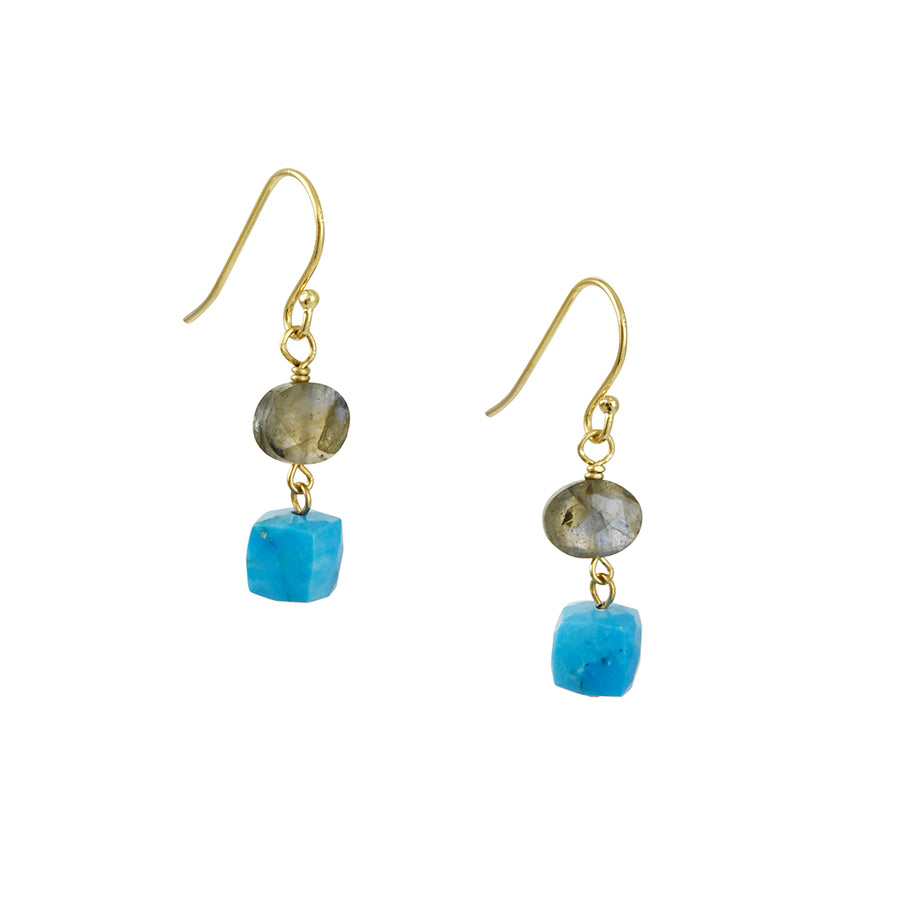 A.V. Max - Dainty Semi Drop Earrings with Labradorite and Turquoise