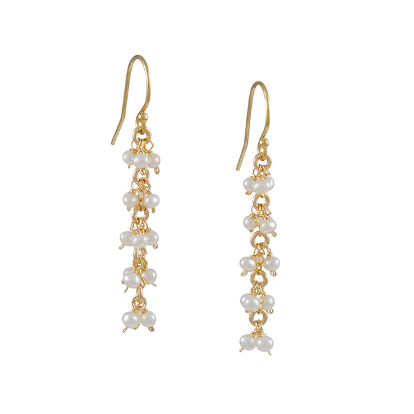 Christina Stankard - Triple White Pearl Cluster Drop Earrings