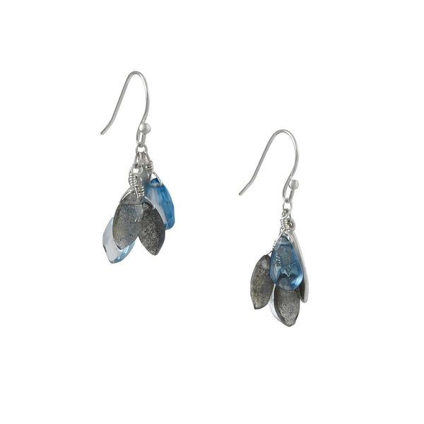 Philippa Roberts - Blue Topaz, Labradorite Cluster Earrings