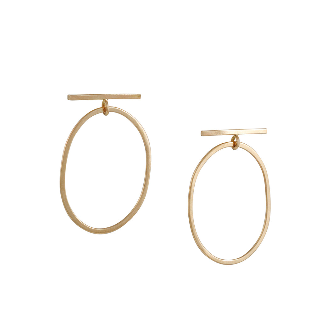 Melissa Joy Manning - Gold Bar with Oblong Drop Earrings