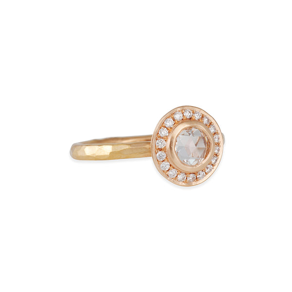 Annie Fensterstock - Rose Cut Halo Solitaire Setting