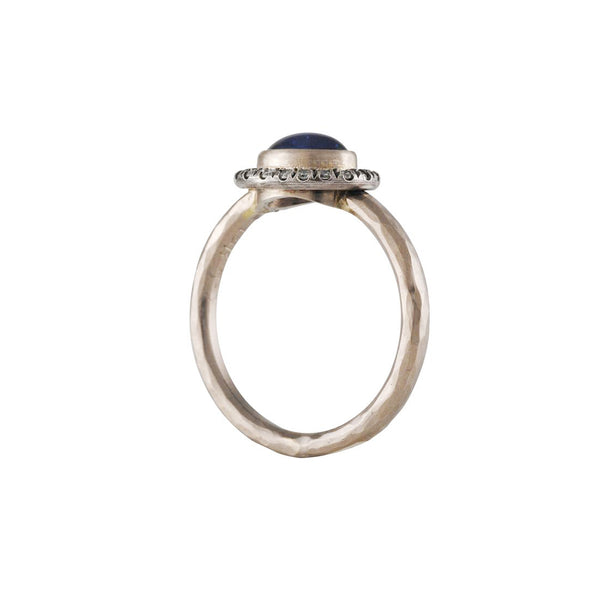 Annie Fensterstock - Sapphire Cabochon with Diamond Halo