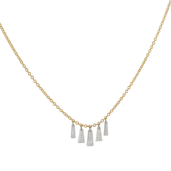 TAP by Todd Pownell - Fived Tapered Diamond Baguette Necklace