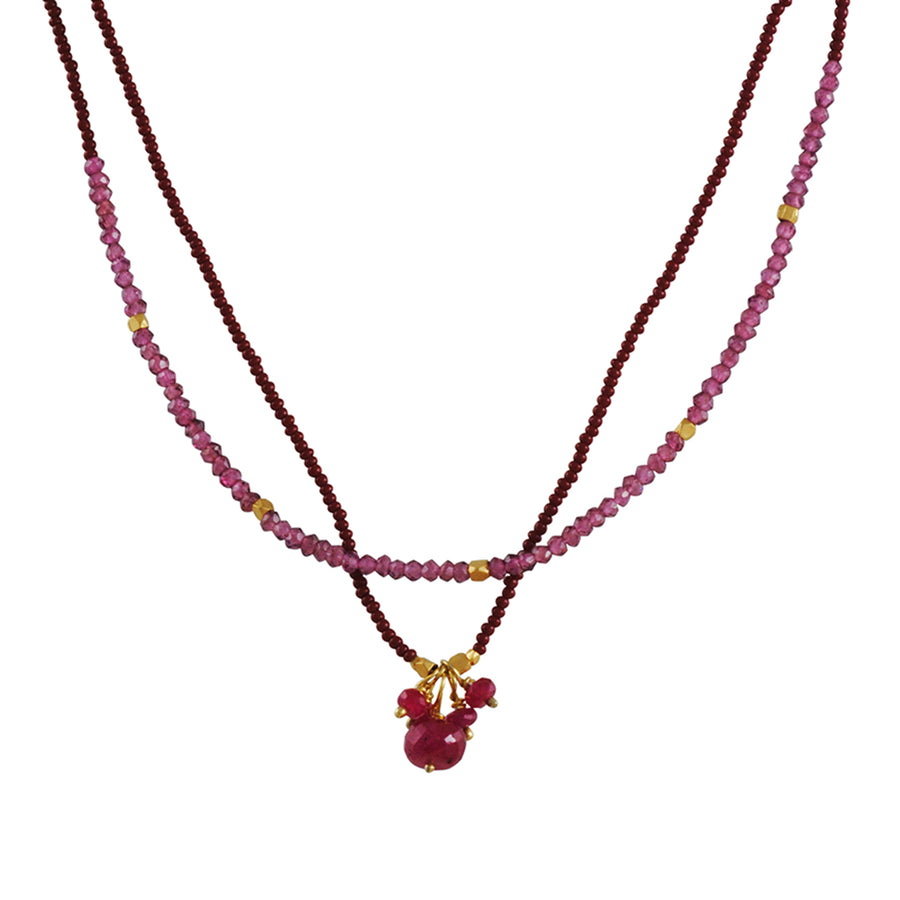 Debbie Fisher - Ruby Cluster and Garnet Wrap Around Necklace