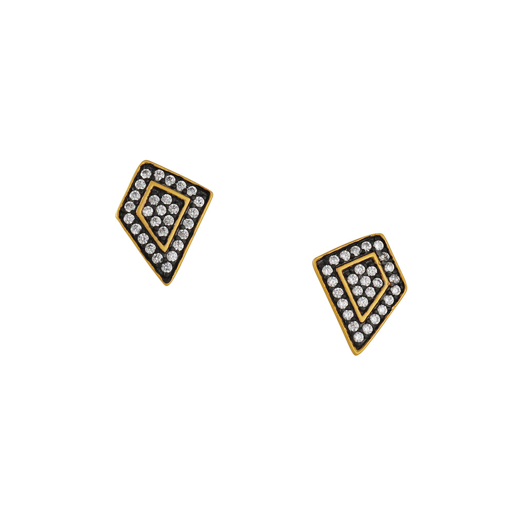 FREIDA ROTHMAN - Asymmetrical Pave Post Earrings in Black and Gold Vermeil