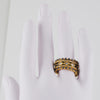 FREIDA ROTHMAN - Five Classic Stacking Rings, Black and Gold Vermeil, Size 8