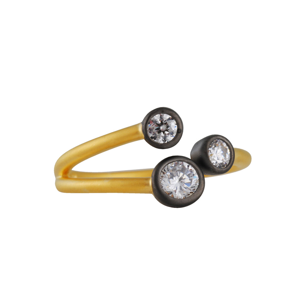 FREIDA ROTHMAN - Graduated Geometric Ring, Black and Gold Vermeil, Size 7