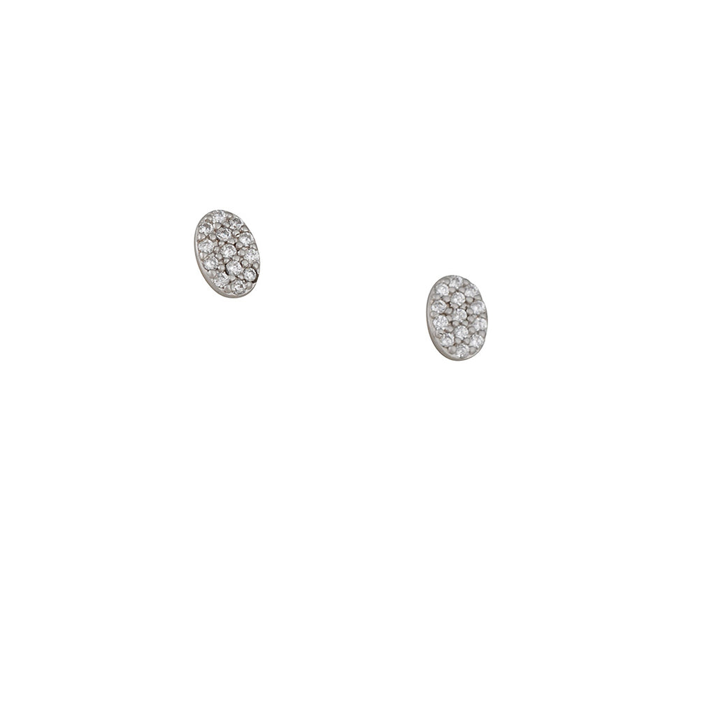 FREIDA ROTHMAN - Pave Oval Post Earrings With Swarovski Crystal, Rhodium Plated